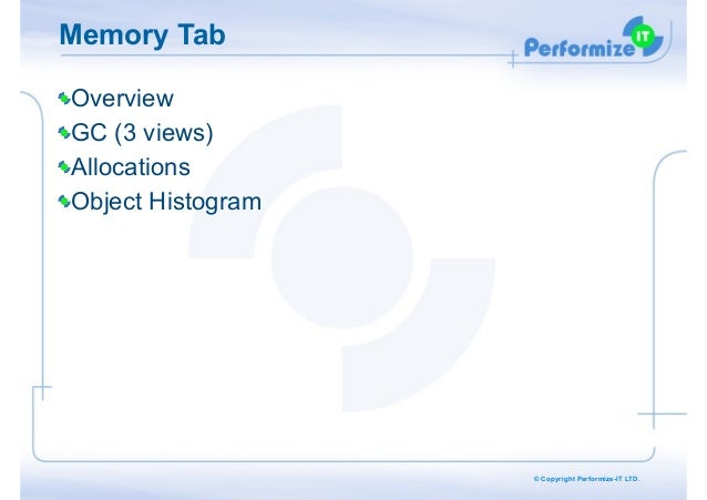 Memory Tab Overview GC (3 views) Allocations Object Histogram  © Copyright Performize-IT LTD.