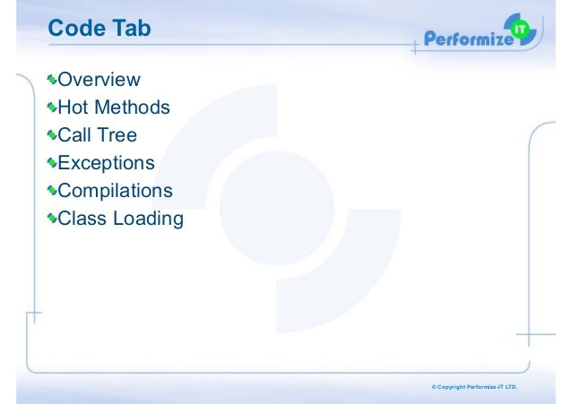 Code Tab Overview Hot Methods Call Tree Exceptions Compilations Class Loading  © Copyright Performize-IT LTD.