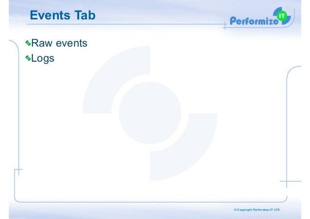Events Tab Raw events Logs  © Copyright Performize-IT LTD.