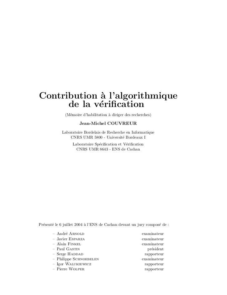 Contribution ` l'algorithmique             a      de la v´rification             e              (M´moire d'habilitation ` d...