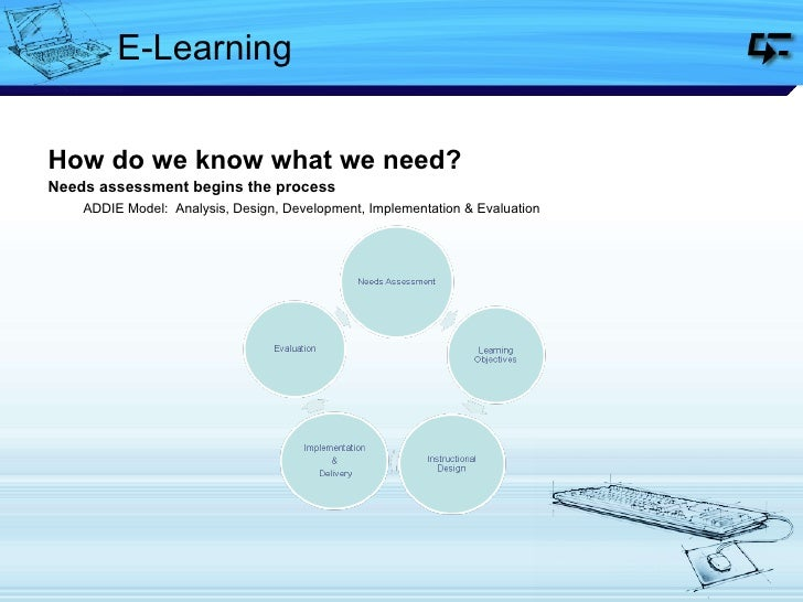 E-Learning <ul><li>How do we know what we need? </li></ul><ul><li>Needs assessment begins the process </li></ul><ul><li>  ...
