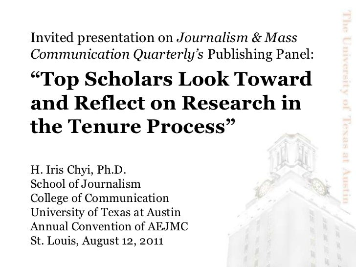 """Invited presentation on Journalism & Mass Communication Quarterly's Publishing Panel: <br />""""Top Scholars Look Toward and ..."""