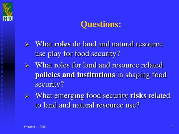 Land uses other natural resources uses and food security for Cuisine resources