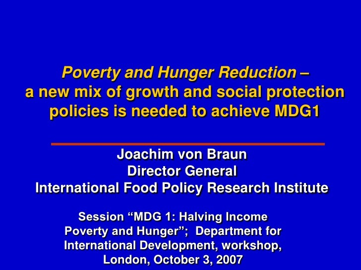 Poverty and Hunger Reduction – a new mix of growth and social protection    policies is needed to achieve MDG1            ...