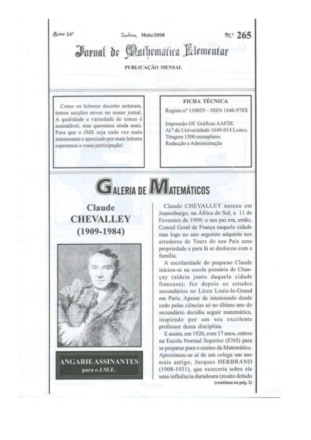 Jornal Matemática Elementar ed. Maio 08