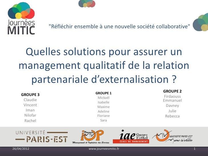 """""""Réfléchir ensemble à une nouvelle société collaborative""""    Quelles solutions pour assurer un   management qualitatif de ..."""