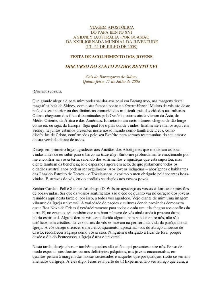 VIAGEM APOSTÓLICA                                DO PAPA BENTO XVI                      A SIDNEY (AUSTRÁLIA) POR OCASIÃO  ...