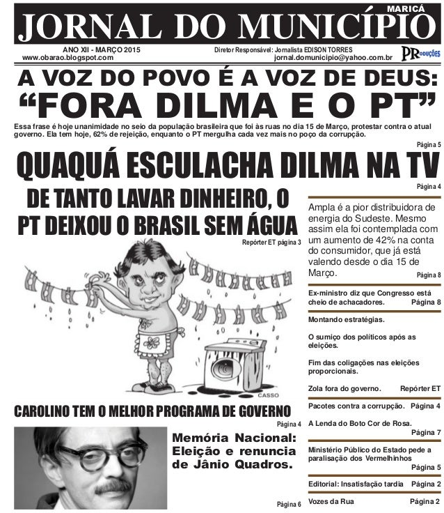 ANO XII - MARÇO 2015 Diretor Responsável: Jornalista EDISON TORRES JORNAL DO MUNICÍPIO MARICÁ www.obarao.blogspot.com jorn...