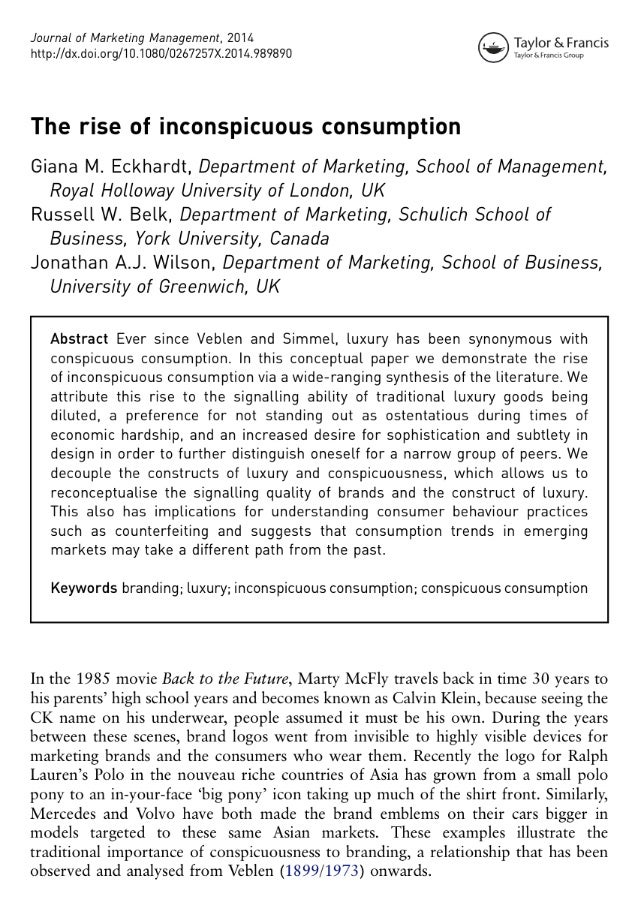 Journal of Marketing Management,  2014 Taylor &FranCis http: //dx. doi. org/10.1080/0267257X.2014.989890 e  Taylor 5 Fr. ~...