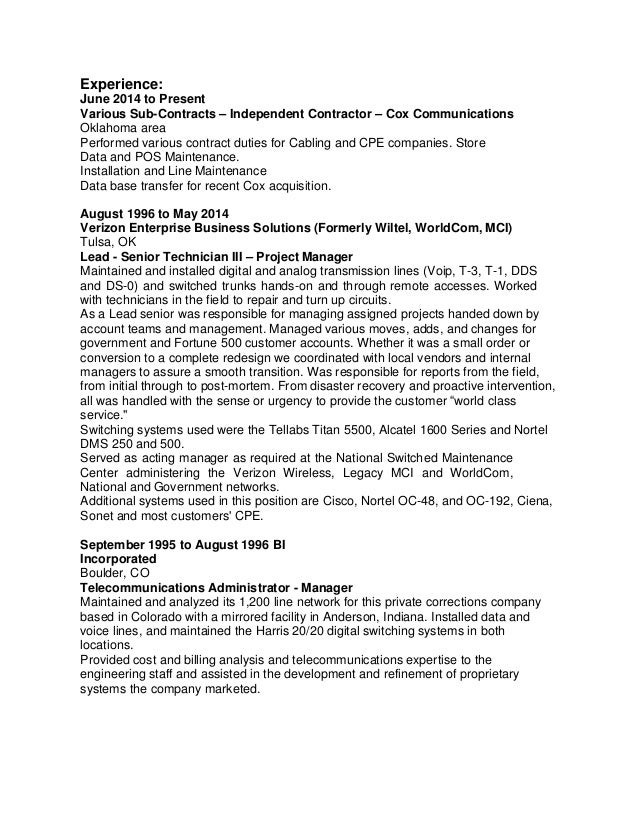 Stunning Telecommunications Cable Installer Resume Photos - Example ...