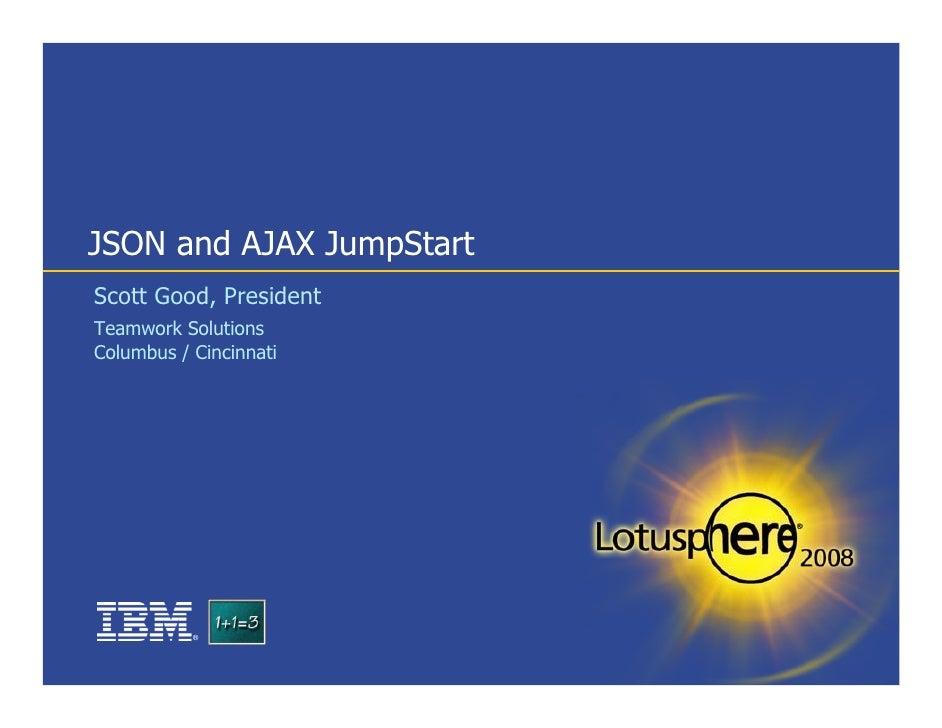 JSON and AJAX JumpStart Scott Good, President Teamwork Solutions Columbus / Cincinnati                ®