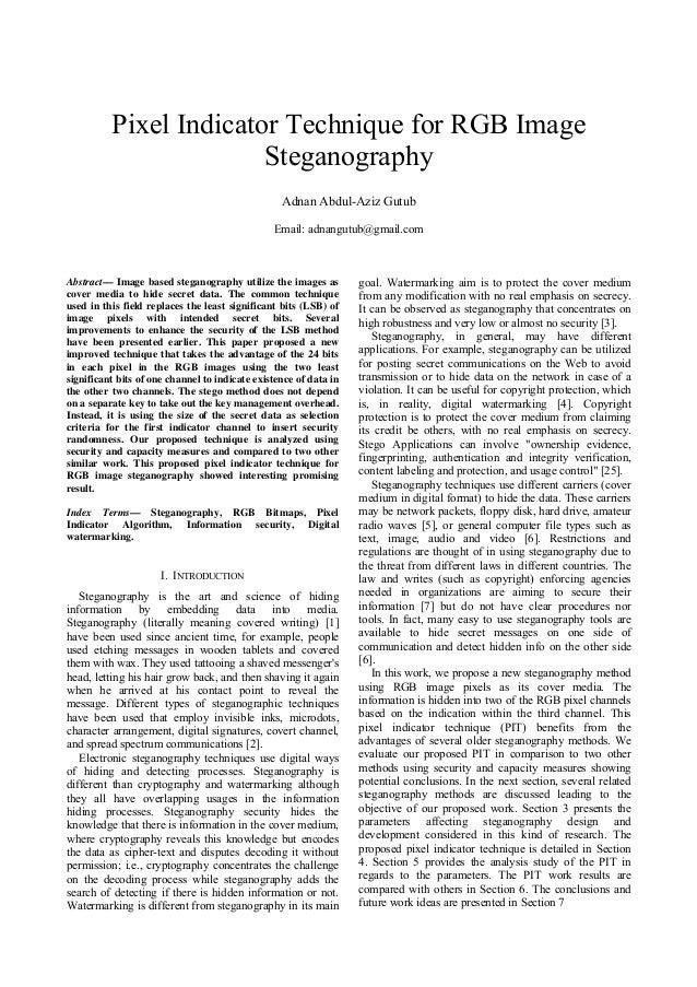Pixel Indicator Technique for RGB Image                        Steganography                                              ...