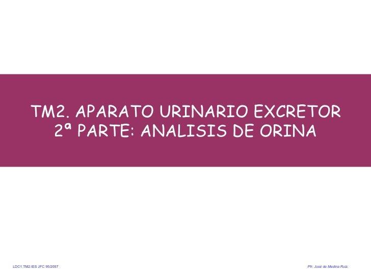 TM2. APARATO URINARIO EXCRETOR 2ª PARTE: ANALISIS DE ORINA <ul><li> </li></ul>LDC1.TM2.IES JFC 95/2007  Pfr .  José de Me...