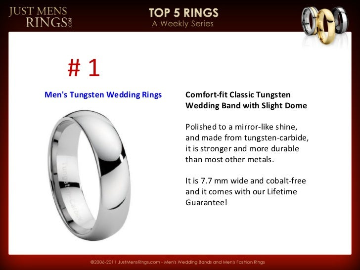 Comfort-fit Classic Tungsten Wedding Band with Slight Dome Polished to a mirror-like shine, and made from tungsten-carbide...