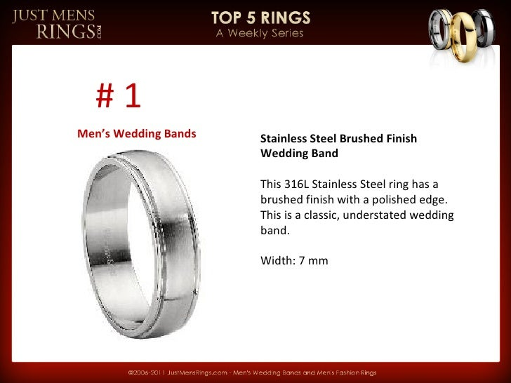 Stainless Steel Brushed Finish Wedding Band This 316L Stainless Steel ring has a brushed finish with a polished edge. This...