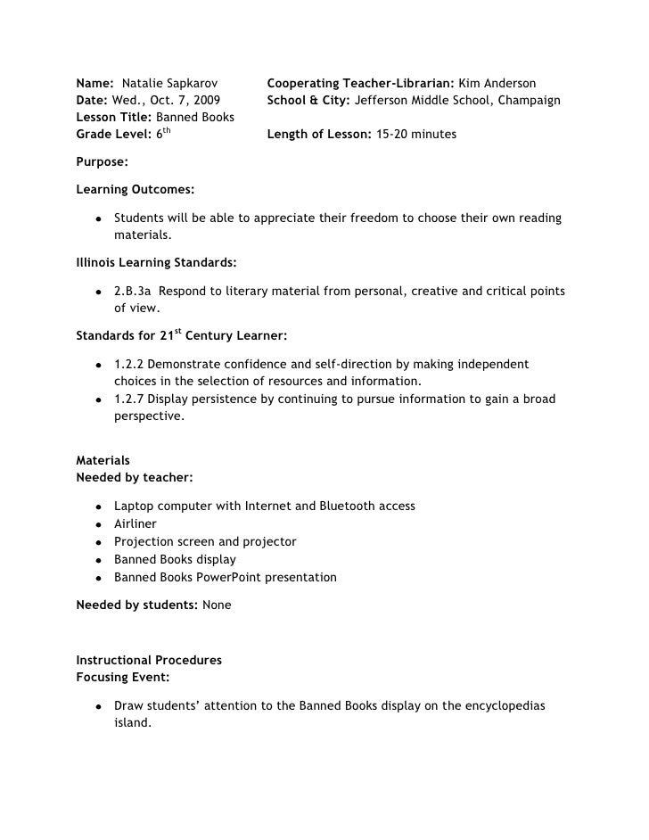Name:  Natalie SapkarovCooperating Teacher-Librarian: Kim AndersonDate: Wed., Oct. 7, 2009School & City: Jefferson Middle ...