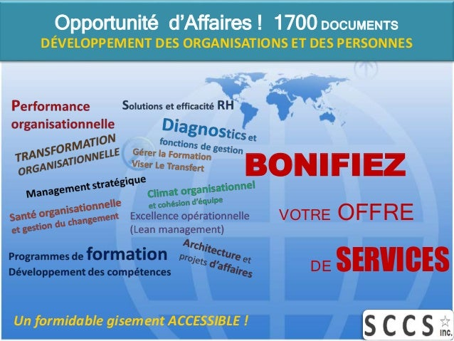 Un formidable gisement ACCESSIBLE ! Opportunité d'Affaires ! 1700 DOCUMENTS DÉVELOPPEMENT DES ORGANISATIONS ET DES PERSONN...