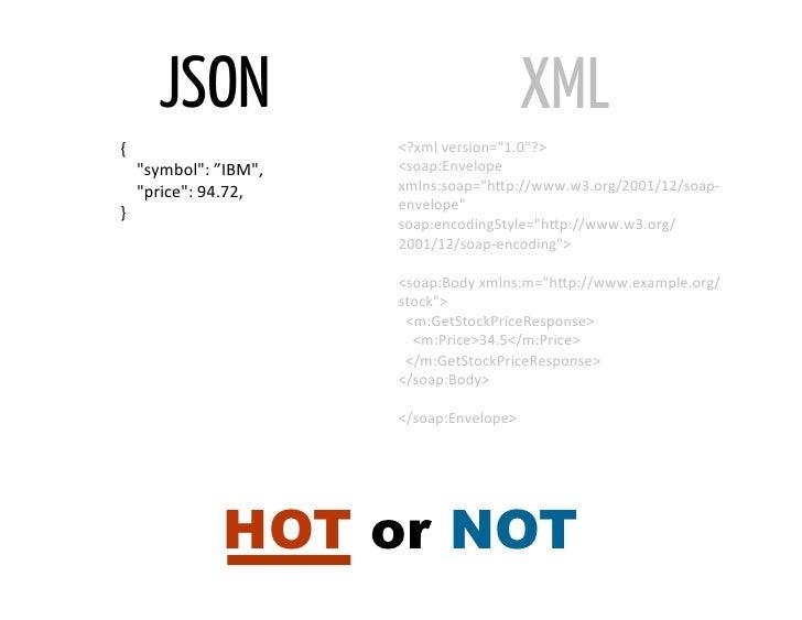 """JSON                                             XML{                                      <?xml version=""""1.0""""?>  ..."""