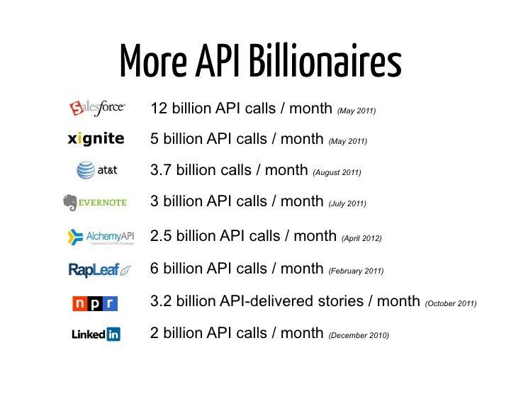 More API Billionaires  12 billion API calls / month (May 2011)  5 billion API calls / month (May 2011)  3.7 billion calls ...