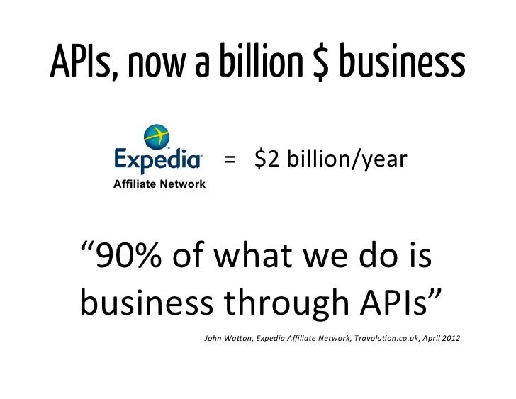 "APIs, now a billion $ business                            =   $2 billion/year       Affiliate Network  ""90% of..."