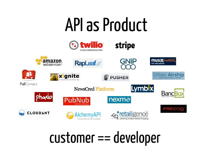 API as Productcustomer == developer