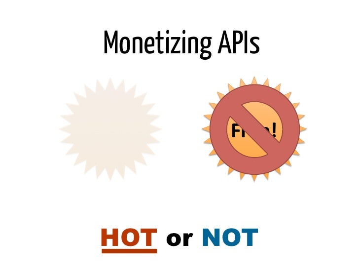 Monetizing APIs            Free! HOT or NOT