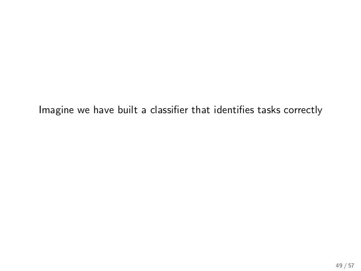Imagine we have built a classifier that identifies tasks correctly                                                          ...