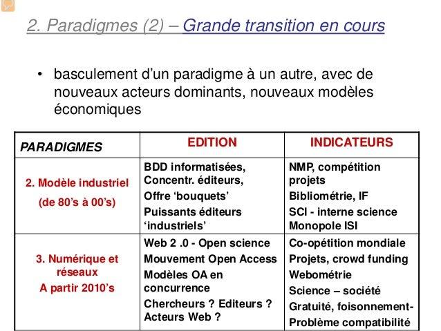 2. Paradigmes (2) – Grande transition en cours  • basculement d'un paradigme à un autre, avec de    nouveaux acteurs domin...