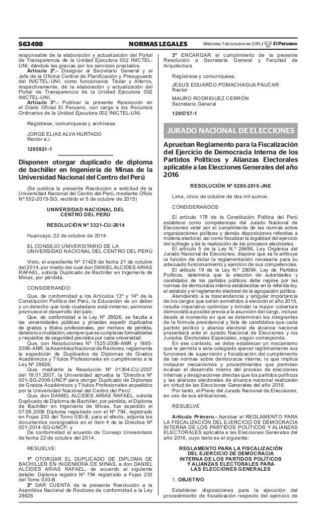 563498 NORMAS LEGALES Miércoles 7 de octubre de 2015 / El Peruano responsable de la elaboración y actualización del Portal...