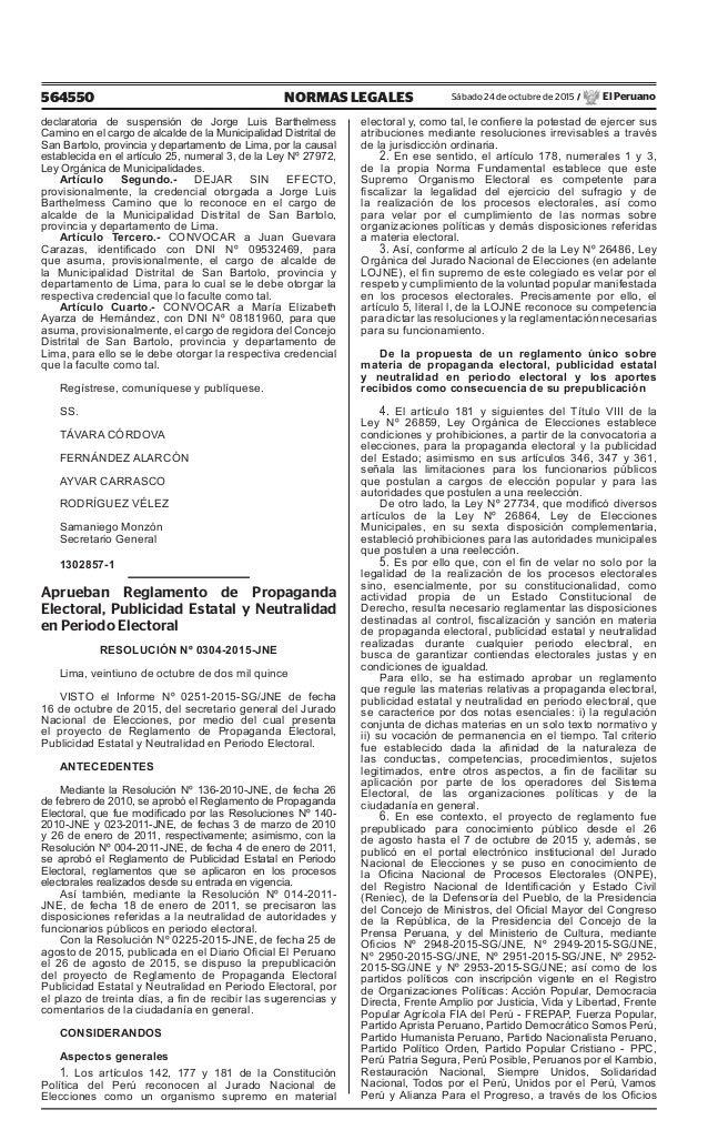 564550 NORMAS LEGALES Sábado 24 de octubre de 2015 / El Peruano declaratoria de suspensión de Jorge Luis Barthelmess Camin...