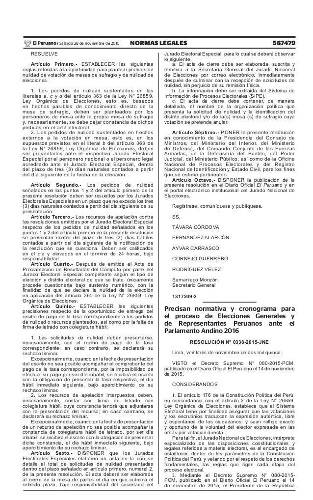 567479NORMAS LEGALESSábado 28 de noviembre de 2015El Peruano / RESUELVE Artículo Primero.- ESTABLECER las siguientes regla...