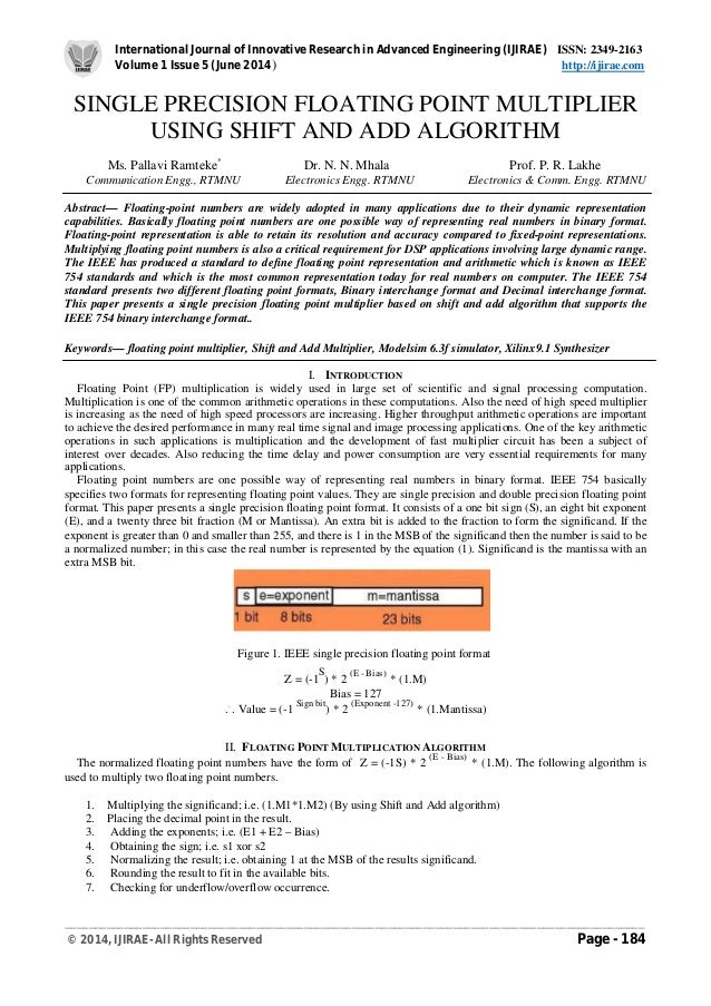 Single precision floating point multiplier using shift and add algori international journal of innovative research in advanced engineering ijirae issn 2349 2163 publicscrutiny Image collections