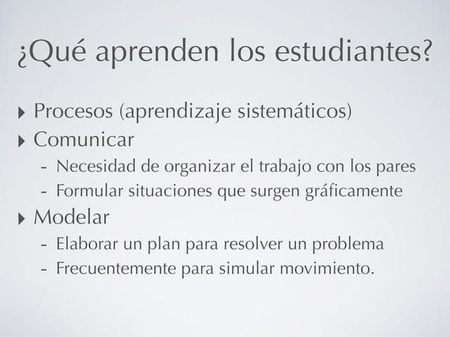 ¿Qué aprenden los estudiantes? ‣ Procesos (aprendizaje sistemáticos) ‣ Comunicar - Necesidad de organizar el trabajo con l...