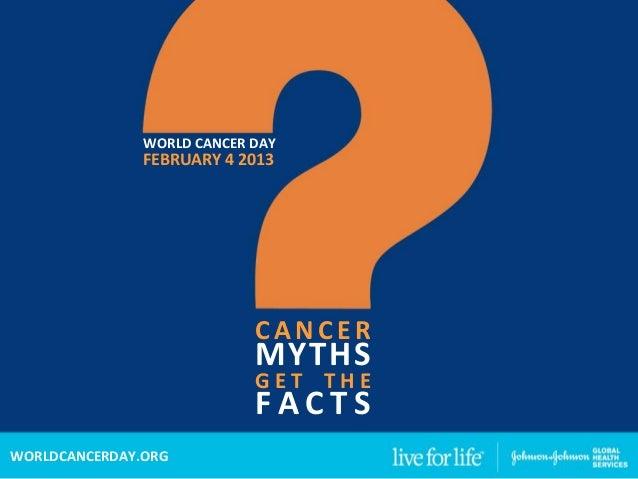 WORLDCANCERDAY               FEBRUARY42013                            CANCER                            MYTHS         ...
