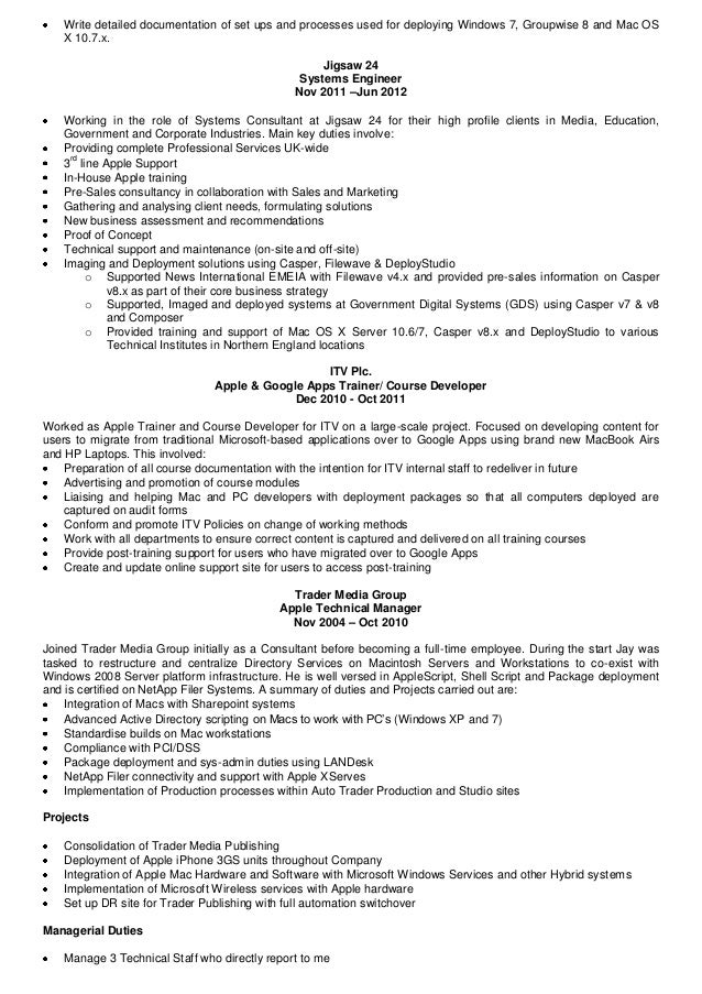 filewave 2 - Apple Hardware Engineer Sample Resume