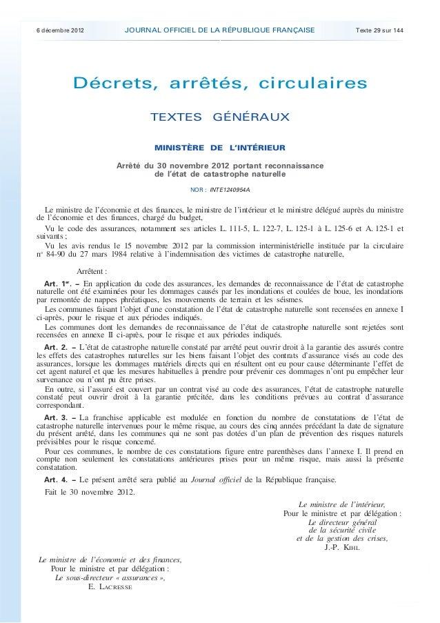 6 décembre 2012             JOURNAL OFFICIEL DE LA RÉPUBLIQUE FRANÇAISE                             Texte 29 sur 144      ...