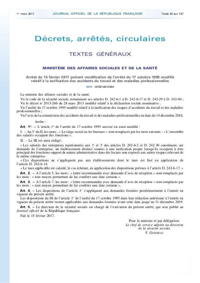 Décrets, arrêtés, circulaires TEXTES GÉNÉRAUX MINISTÈRE DES AFFAIRES SOCIALES ET DE LA SANTÉ Arrêté du 15 février 2017 por...
