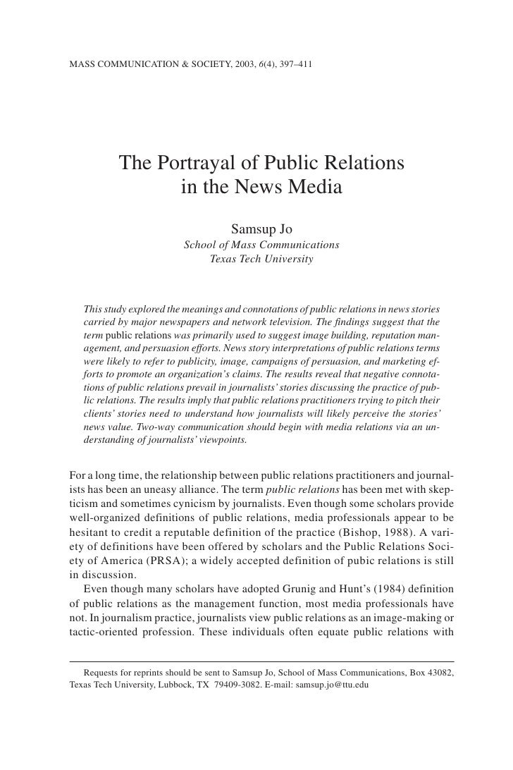 MASS COMMUNICATION & SOCIETY, 2003, 6(4), 397–411                 The Portrayal of Public Relations                   in t...
