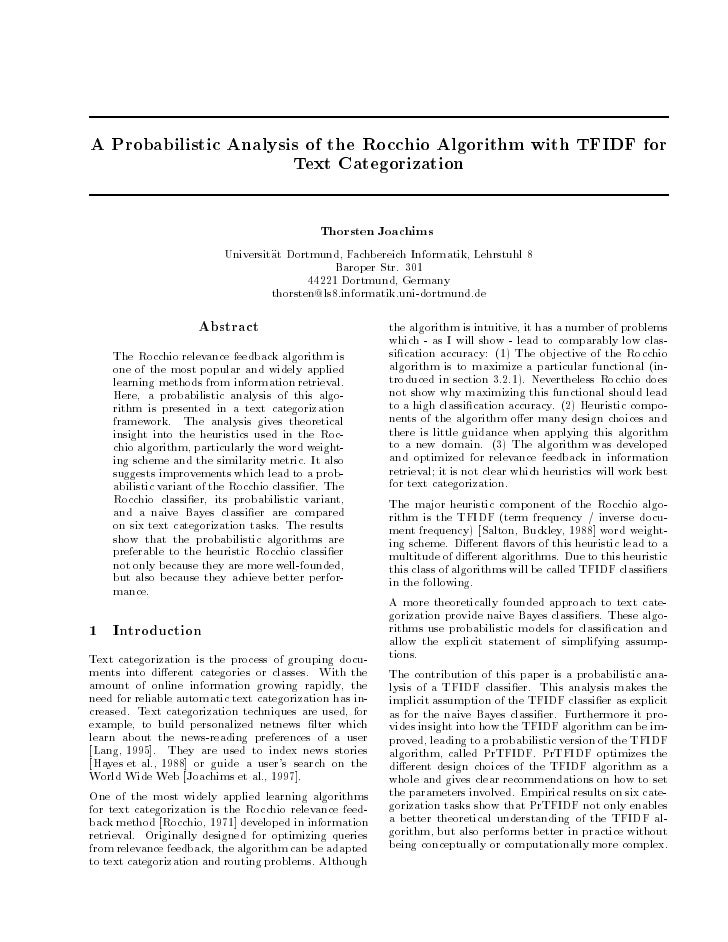 A Probabilistic Analysis of the Rocchio Algorithm with TFIDF for                        Text Categorization               ...