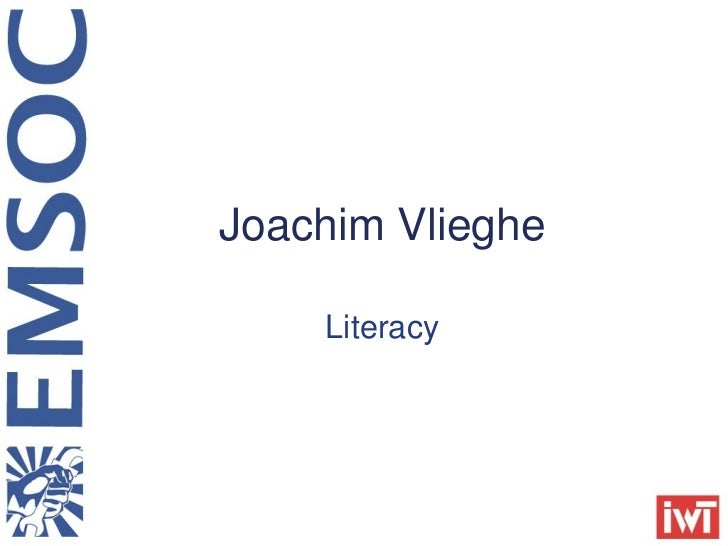 Literacy Joachim Vlieghe