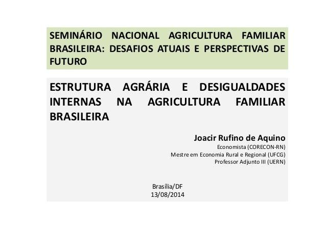SEMINÁRIO NACIONAL AGRICULTURA FAMILIAR  BRASILEIRA: DESAFIOS ATUAIS E PERSPECTIVAS DE  FUTURO  ESTRUTURA AGRÁRIA E DESIGU...