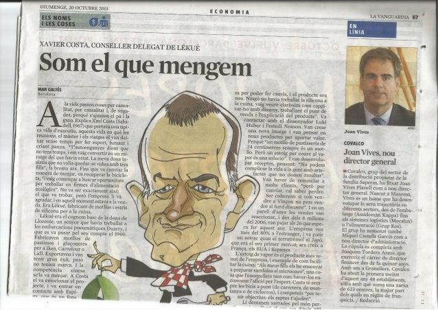 JOAN VIVES, NUEVO CEO DE COVALCO (LA VANGUARDIA)