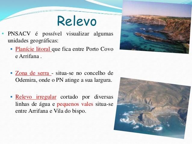 Relevo• PNSACV é possível visualizar algumasunidades geográficas: Planície litoral que fica entre Porto Covoe Arrifana ....