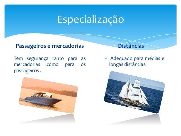 Especialização Passageiros e mercadorias Tem segurança tanto para as mercadorias como para os passageiros . Distâncias  A...