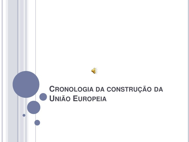 CRONOLOGIA DA CONSTRUÇÃO DA UNIÃO EUROPEIA