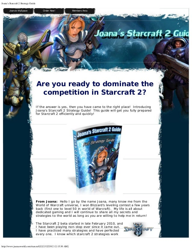 Joanas Starcraft 2 Strategy Guide         Joanas MySpace                 Order Now!              Members Area             ...