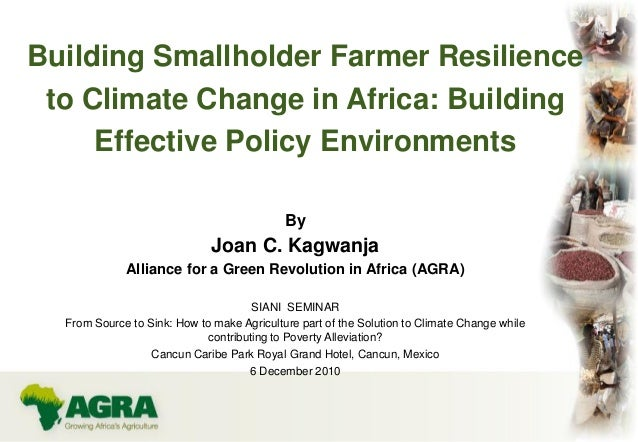 Building Smallholder Farmer Resilienceto Climate Change in Africa: BuildingEffective Policy EnvironmentsByJoan C. Kagwanja...