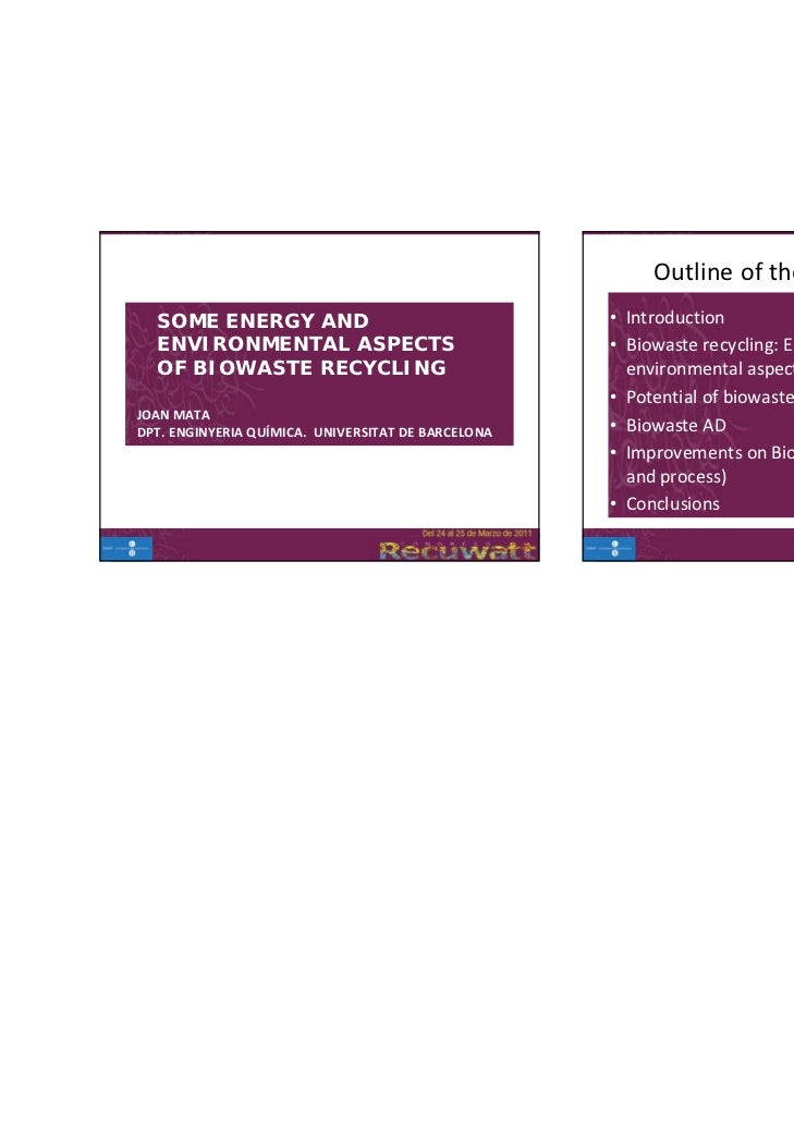 Outline of the presentation  SOME ENERGY AND                                    • Introduction  ENVIRONMENTAL ASPECTS     ...