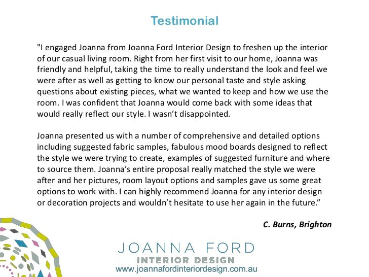 TestimonialI Engaged Joanna From Ford Interior Design