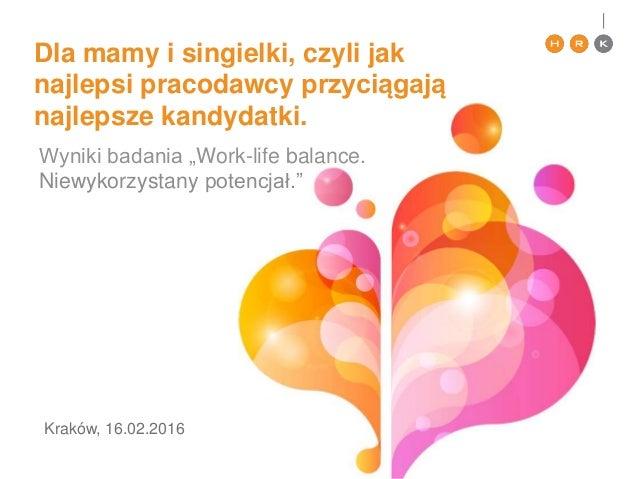 """Dla mamy i singielki, czyli jak najlepsi pracodawcy przyciągają najlepsze kandydatki. Wyniki badania """"Work-life balance. N..."""